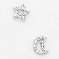 Crescent Moon & Star Pave Rhinestone Silver Earrings
