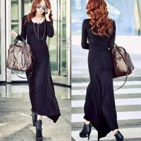 New Women's Long Sleeve Button Down Crew Neck Solid Fitted Slim Maxi Long Dress