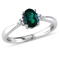 3/4 Carat Created Emerald and Diamond Ring in Sterling Silver