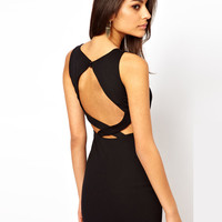 Sleeveless Cross Strap Chest Cut-out Mini Dress