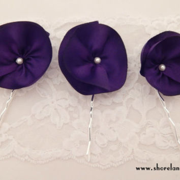 Purple flower hair pins, set of 3 hairpins, purple bridal accessories, silk flower wedding hairpins, bridesmaid hair, purple color theme