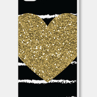 Gold Heart iPhone Case - iPhone 4 Case - iPhone 4s Case - iPhone 5 Case - iPhone 5s Case - Chalkboard - Black - Valentine