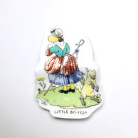 Little Bo Peep, Broken China Jewelry, Brooch, Preschool Teacher Gifts, Librarian Pin, Nursery Rhyme Baby Shower, New Baby Gift, Sheep, Red