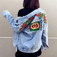 GUCCI : rose embroidery Denim Jacket cardigan sweater