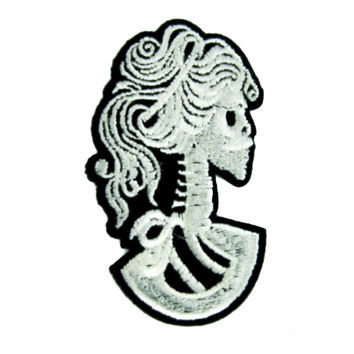 Lady Death Skeleton Cameo Patch Iron on Applique Occult Clothing