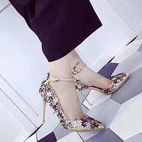 Flowers Pointed Toe Low Cut Ankle Wrap Stiletto High Heels