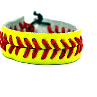 Leather Softball Bracelet by SnazzySportsCo on Etsy