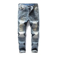 Men's Frayed Hole Ripped Denim Jeans