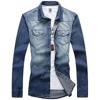 Men Denim Shirts Cotton Slim Fit Jeans Shirt Pockets New Long Sleeve Blue Social