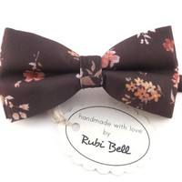 Bow Tie - floral bow tie - wedding bow tie - brown bow tie with orange and pink flowers - man bow tie - flowers bow tie - men bow tie