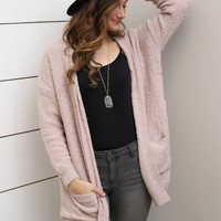 Pink Fuzzy Open Cardigan With Pockets