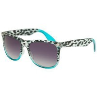 Wide Ladies Retro Fade Sunglasses - Brown & White Gingham Frames