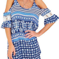 Blue Cold Shoulder Dress With Crochet Insert Sleeves