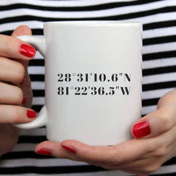 Custom Coordinates Gift, Unique Custom Coffee Mugs, Personalized Coffee Mugs for Men, for Him, Valentines Gift for Him, Anniversary Gift