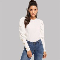 Elegant T-shirt Women Long Sleeve Top Puff Sleeve With Button Detail Tee Shirt Ladies Tops