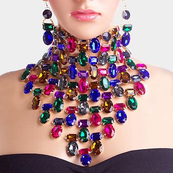 Faceted Crystal Collar Bib Choker Necklace