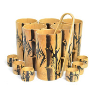 Bambon Natural Bamboo Tumbler Cups, Napkin Rings & Ice Tongs Set (13 Pieces) - Mid-Century Japan, Oriental Serving Decor - Vintage Home Bar