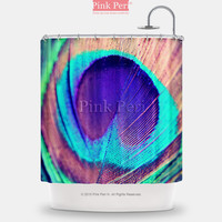 Peacock Feathers Galaxy Shower Curtain Home & Living Bathroom 071