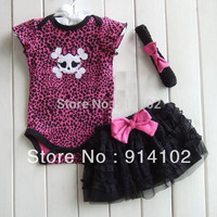 Free Shipping Hot sale girls 3 Piece Suits skull Romper +Tutu Skirt + Headband baby Leopard summer sets