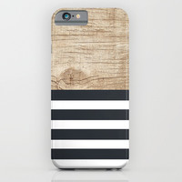 Navy stripe + wood iPhone & iPod Case by Urban Exclaim Co.