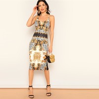 Glamorous Multicolor Scarf Print Cami Pencil Bodycon Dress Women Spaghetti Strap Casual Sleeveless Dresses