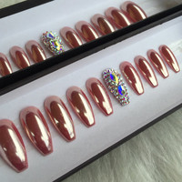 Rose Gold Chrome Press OnNails with 2 Accent Swarovski Nails | Any Shape or Size| Chrome Powder Nail Art | Mirror | Fake False Glue On Nails