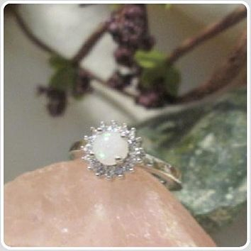 """""""Peace & Love"""" Angel White Fire Opal Sterling Silver Ring Set"""