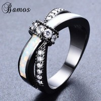 Bamos Romantic Crossed Rainbow Fire Opal Rings For Women Bridal Black Gold Filled Wedding Party Engagement Promise Ring RB1151
