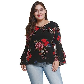 Crew Neck Long Bell Sleeve Floral Print Chiffon Blouse for Women 1193