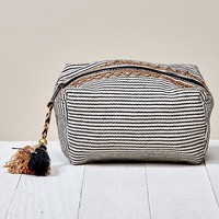 Striped and Beaded Makeup Bag