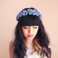 romantic pastel rose headband // blue - dainty, floral headpiece, nature inspired, vintage inspired, rustic rose, love.