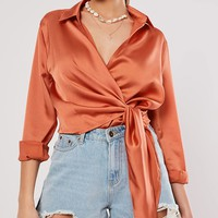 Missguided Satin Wrap Top