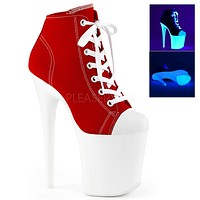 """Flamingo 800SK-2 Red Lace Up Sneaker Ankle Boots  8"""" High Heels"""