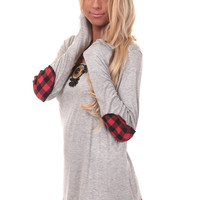 Heather Grey Top with Black and Red Checkered Detail