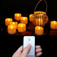 Pack of 6 Remote Led Tealights Candles,Flameless Flicker Votive Candles,Realistic Remote Control Outdoor Candle Light Wedding