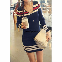 Casual Style V-Neck Long Sleeve Striped Splicing Women's Knitted Sweater = 1841375492