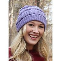 Striped Cable Knit Beanie - 6 colors