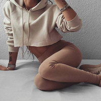 Fashion Long Sleeve Solid Color Hoodie Top Sweater