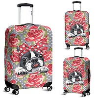 Floral Boston Terrier Luggage Cover