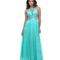 2014 Prom Dresses - Mint Chiffon Grecian Cut Out Empire Long Dress