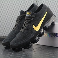 Sale Nike Air VaporMax Vapor Max 2018 Flyknit Men Black Gold Sport Running Shoes AA3851-107