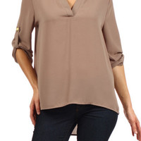 Plus Solid Tunic Blouse