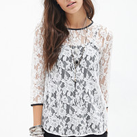 FOREVER 21 Faux Leather-Trimmed Lace Top