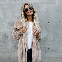 Fur Cardigans Women Long Sleeve Oversize Winter Casual Loose Coverup Tops Autumn Coat Female Sweaters Plus Size 3XL LD1166
