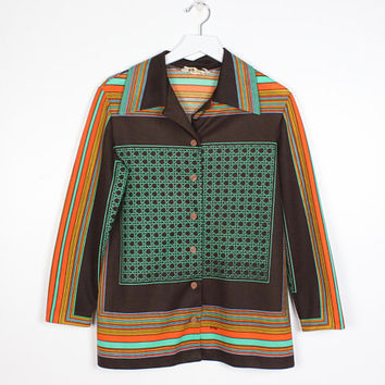 Vintage 1970s Shirt Brown Green Orange Yellow Striped Trissi Shirt 70s Mod Hippie Smock Tunic Woven Pattern Long Sleeve Collared M Medium L