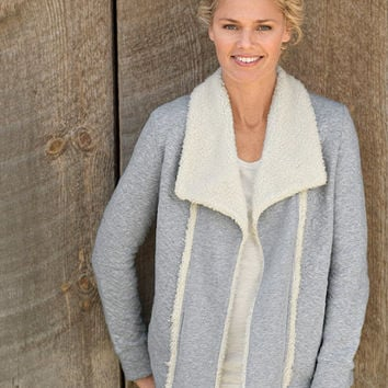 Sherpa-Trimmed Open Cardigan: Tees and Knit Tops   Free Shipping at L.L.Bean