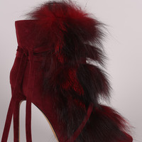 Liliana Faux Fur Lace Up Pointy Toe Stiletto Booties