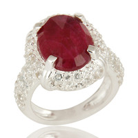 925 Sterling Silver Indian Ruby Corundum And White Topaz Statement Ring