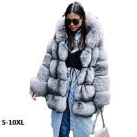 Fur coat new women winter hooded coat artificial 2017 fashion quality imitation mink fur coats women coat long thick fur