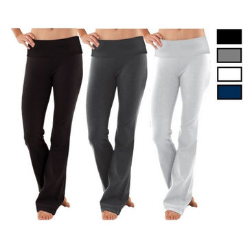 Women Soft Comfy Cotton Spandex Yoga Fold Over Pant Lounge Gym Sports Athletic = 1932564804